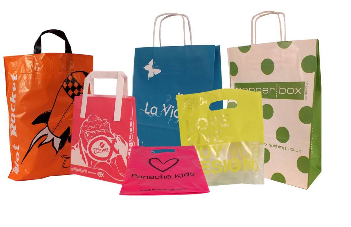 coloured carrier bags